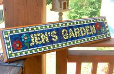 Custom Mosaic Name or Address Plaque / Sign by BeadedGlass on Etsy, $134.00
