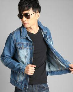 Mens Denim Jacket Lapel Casual Solid Men\'s Denim Jackets Discount Online Shopping