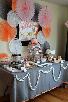 pink, orange, grey - baby shower