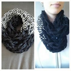 Items similar to Infinity Scarf - double wrap circle scarf chunky textured loose knit black & white on Etsy Circle Scarf, Knits, Infinity, Trending Outfits, Knitting, Crochet, Etsy, Vintage, Fashion