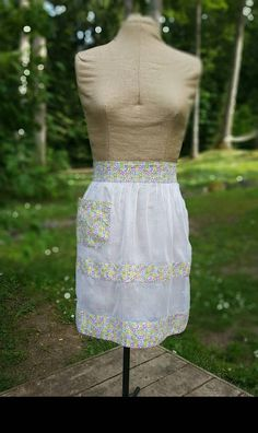 Vintage Apron Sheer White Fabric with Floral Cotton Bands and