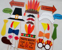 PDF – Thanksgiving Day Photo Booth Props – PRINTABLE DIY photobooth