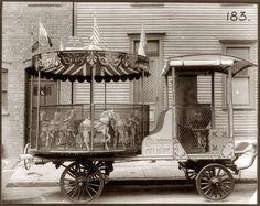 """Children's Delight"" carousel wagon with piano or calliope, circa 1910. George B. Marx Wagon Co., Brooklyn."