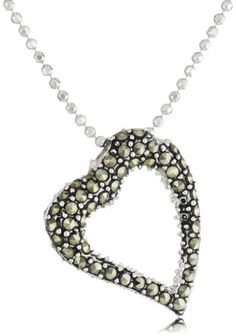 "Judith Jack ""Reversibles"" Sterling Silver, Swarovski Marcasite and Crystal Heart Pendant Necklace"