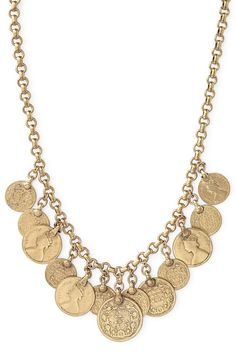 Vintage Inspired Gold Coin Necklace   Rio Single Strand Coin Necklace