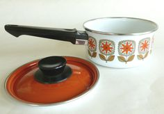 Orange Floral Enamelware Saucepan with Lid Enamel Cookware Pot Avocado Green and Burnt Orange Retro Mod Flowers Graphics