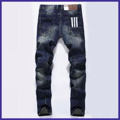 Famous Brand Fashion Designer Jeans Men Straight Dark Blue Color Printed Mens Jeans Ripped Jeans,100% Cotton