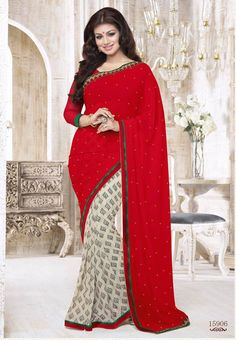 Red with White Colored Semi Georgette Half and Half Saree with Patch work Border and Red Colored Blouse Part @ Rs.1025  http://www.shreedevitextile.com/women/sarees/synthetic-fancy-sarees/shree-devi/red-with-white-colored-semi-georgette-saree-15906