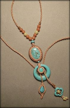 Macrame jewelry necklace with  turquoise by Mabutirat on Etsy, NT$6000.00