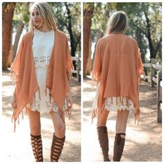 "RESTOCKED Bohemian Camel Tassel Kimono One Size So pretty!  Camel kimono, tassel fringe trim, so pretty as a swim coverup or as a kimono, 50% viscose 50% Polyester, 27"" x 40"".  No Trades, Price Firm unless Bundled.  BUNDLE 3 OR MORE ITEMS FOR 15 % OFF. Boutique Accessories Scarves & Wraps"