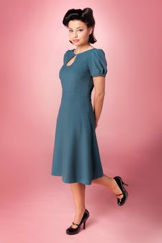Red Juliet Couture - Red Juliet Couture - 40s Sylvia keyhole pearl A line dress vintage blue