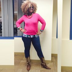 Ralph Lauren Sport sweater styled with jeans and cowboy boots by Ms. Afiya The Diva #workflow #officecasual