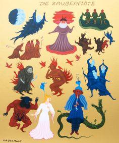 "Arik Brauer ""die Zauberflöte"" Vienna School Of Fantastic Realism, Illustrations, Artist, Animals, Poster, Paint, Animales, Animaux, Illustration"