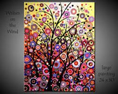 SALE OFF Original Price Large Abstract Tree Painting Circles Balls Red Yellow Modern Landscape Acrylic Canvas JMichael Abstract Tree Painting, Abstract Canvas Art, Acrylic Canvas, Dot Painting, Tree Sculpture, Modern Sculpture, Sculptures, Landscape Paintings, Tree Paintings