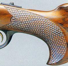 wood gun stock carving patterns | Skip-line checkering, an unfortunate 1950's fashion.