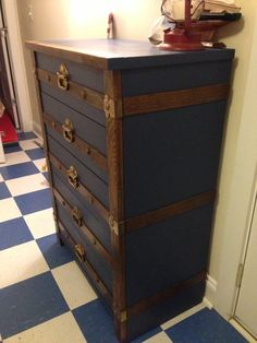 Blue Nautical Steamer Trunk Dresser