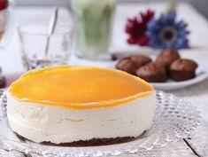 מתכון לעוגת גבינה קרה עם ציפוי מנגו. קינוח יפה ופשוט להכנה