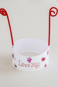 Love Bug hats for Valentines Day. Kids Valentine craft.