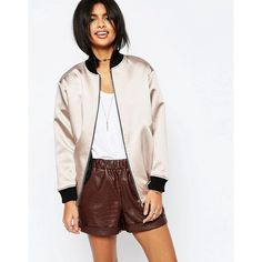 ASOS Satin Bomber Jacket with Contrast Rib (190 SAR) ❤ liked on Polyvore featuring outerwear, jackets, grey, grey bomber jacket, zipper jacket, blouson jacket, flight jacket and asos jackets