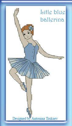 Little blue ballerina - cross stitch pattern http://www.etsy.com/shop/AntoninaDesign
