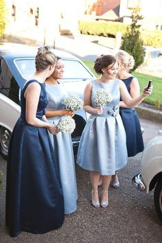 An Elegant 'Audrey Hepburn', 50's Inspired blue bridesmaid dresses - Jo Hastings Photography
