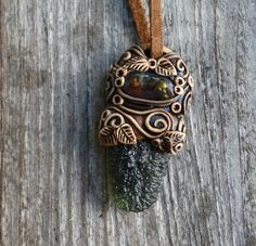 FREE SHIPPING Fire Agate and Moldavite Pendant