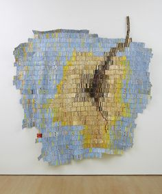 'Enlightened' (2012) by Ghanaian artist El Anatsui (b.1944). Found aluminum and copper wire, 110 x 103 in. via Jack Shainman Gallery on artsy