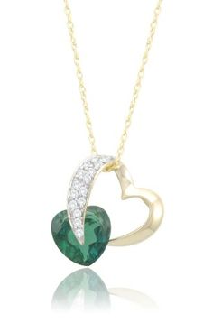 Classy and Romantic 20th Wedding Anniversary Gift Ideas for Her. 10k Gold Heart Created Gem and Diamond Pendant Necklace.