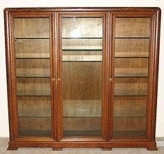 Oak Triple Door Bookcase Wavy Gl Doors Library Display Cabinet 3 Show Office