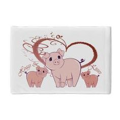 Hoggs and Kissess, Cute Pigs Heart Pillow Case