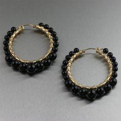 Wire Wrapped 14K Gold-filled Hoop Earrings with Onyx. Bohemian sophistication!   http://www.johnsbrana.com/wire-wrapped-14k-gold-filled-hoop-earrings-with-onyx.html  $140.00 #HandmadeEarrings #WireWrappedEarrings #OnyxEarrings