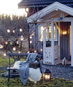 lighting for your home and outdoor space: GORGEOUS! Outdoor Rooms, Outdoor Gardens, Outdoor Living, Outdoor Decor, Interior Exterior, Winter Garden, Garden Inspiration, The Great Outdoors, Pergola