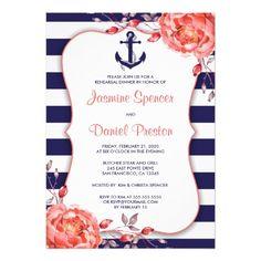 Nautical Coral Navy Rehearsal Dinner Invitation