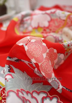 100 silk Crepe De Chine Red Floral Fabric Peony by fabricmade, $16.80
