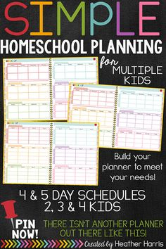 Simplify your planning! This is the last homeschool planner you'll ever need. Homeschool 4 days or 5 days. Plan for multiple kids in the SAME planner. 15 different planner to meet ALL needs.