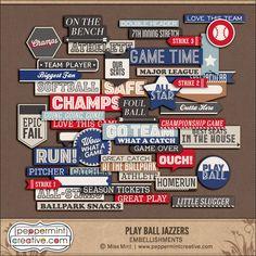 Baseball or Softball Word Tags from Peppermint Creative #baseball #digikit #digital scrapbook