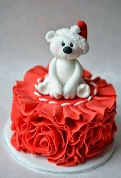 Christmas Bear Ruffled Cake