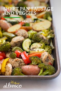 Need a new meal prep recipe? This healthy sheet pan meal can be prepped in 30 minutes and enjoyed on your busiest days. Sausage Recipes, Pork Recipes, Vegetable Recipes, Diet Recipes, Chicken Recipes, Cooking Recipes, Healthy Recipes, Recipies, One Pot Meals