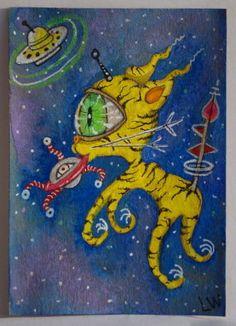 LWick Original ACEO animal space ufo stars ET yellow kitty cat on eye alien toy