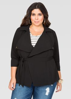 Crepe Wrap Trench Jacket - Ashley Stewart