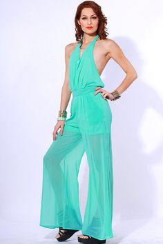 #clubwear21.com #dress #fashion Green sheer chiffon halter backless wide leg party jumpsuit-$49.00