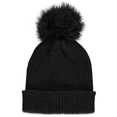 Forever 21 Women's  Fuzzy Pom Pom Beanie ($9.90) ❤ liked on Polyvore featuring accessories, hats, beanie, forever 21, beanie cap, beanie hats, beanie cap hat and forever 21 hats