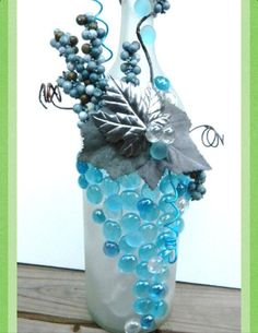 Ice Blue Grape/Vine decoration on a wine bottle
