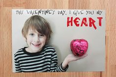 DIY Valentine card with a chocolate heart ~ Too cute!