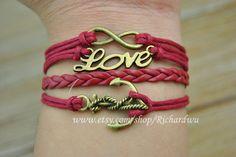 Anchor braceletInfinity braceletLove bracelet Red wax by Richardwu, $4.50