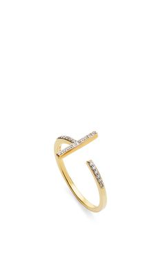 14 K Yellow Gold Diamond T Bar Ring by MATEO for Preorder on Moda Operandi