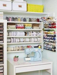 42 Perfect Ideas Sewing Craft Room organization Ideas 45 Craft and Sewing Room Storage and organization 6 Sewing Room Design, Sewing Room Storage, Craft Room Design, Sewing Spaces, Sewing Room Organization, Craft Room Storage, Sewing Rooms, Storage Ideas, Storage Solutions