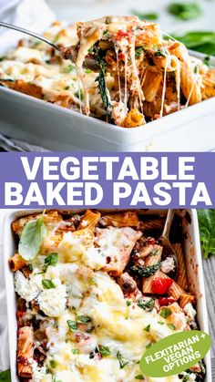 This easy Vegetable Pasta Bake is loaded with fresh veggies including mushrooms, peppers, spinach, onion, garlic and tomato. Then it is topped with ricotta and melted cheese for a cozy weeknight meal that's ready in under 40 minutes. It is simple to prepare and is a great meal for vegetarian or flexitarian dinners. Pasta Recipes, Cooking Recipes, Healthy Recipes, Meatless Recipes, Noodle Recipes, Vegetarian Meals, Veggie Recipes, Fall Recipes, Delicious Recipes
