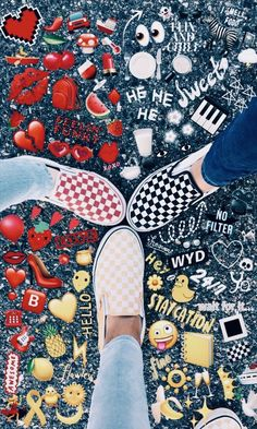 "A VSCO girl is someone whose lifestyle matches the aesthetic appeals of the VSCO app. Merriam-Webster specifies the ""VSCO woman"" as . Well, really, . Emoji Tumblr, Wallpeper Tumblr, Cute Vans, Cute Shoes, Me Too Shoes, Photos Bff, Artsy Photos, Artsy Picture, Emoji Pictures"