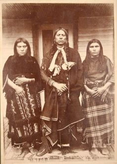 Quanah Parker and two of his wives named Topay and Chonie - Comanche - circa 1890